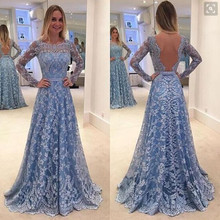 2017 font b Women b font Long Sleeve Floral Blackless Maxi Lace font b Dress b