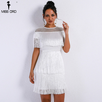 Missord 2019 Women Sexy O Neck Short Sleeve Hollow Out Dresses Female Tassels Women Elegant Bodycon Dress Vestdios FT9341