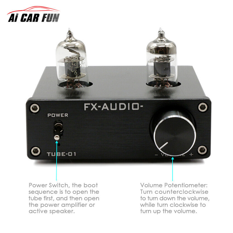 TUBE-01 Digital Car Sound Amplifier Matching Wonder Without Power Adapter audio Pre-Amplifier 6J1 Tube Stereo HiFi Buffer Preamp nobsound mini 6j1 tube preamp audio hifi buffer pre amplifier aluminum chassis