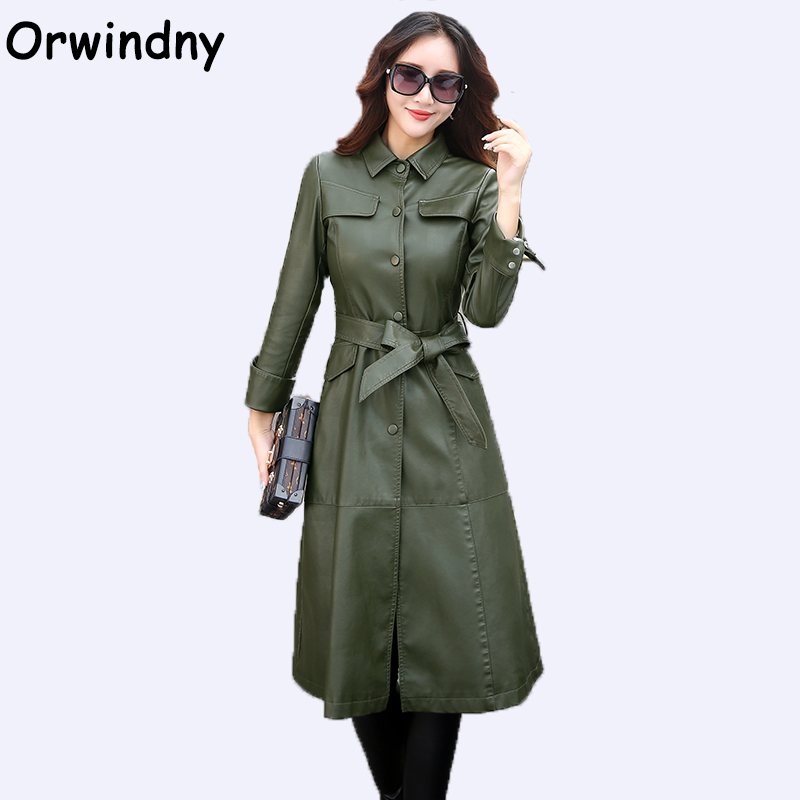 Orwindny 2019 New Slim Fashion Women's   leather   Clothing Plus Size 5XL Army Green   Leather   Jackets X-Long Turn-down Collar Coat