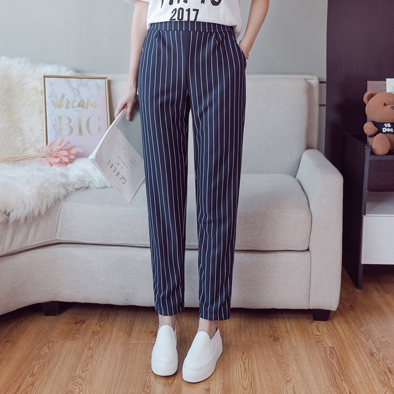 ccb8ef2c6d3 Ankle-Length-Harem-Pants-2018-New-Arrival-England-Style-Striped-Pants -Women-2527s-Elastic-Waist-Strip.jpg