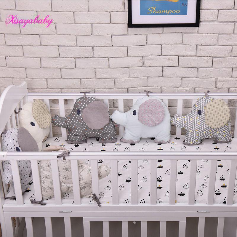 6 pièces pare-chocs de lit de bébé, coussin de dossier combiné Flexible, pare-chocs de berceau d'éléphant aimal, lit infantile mou autour de la protection