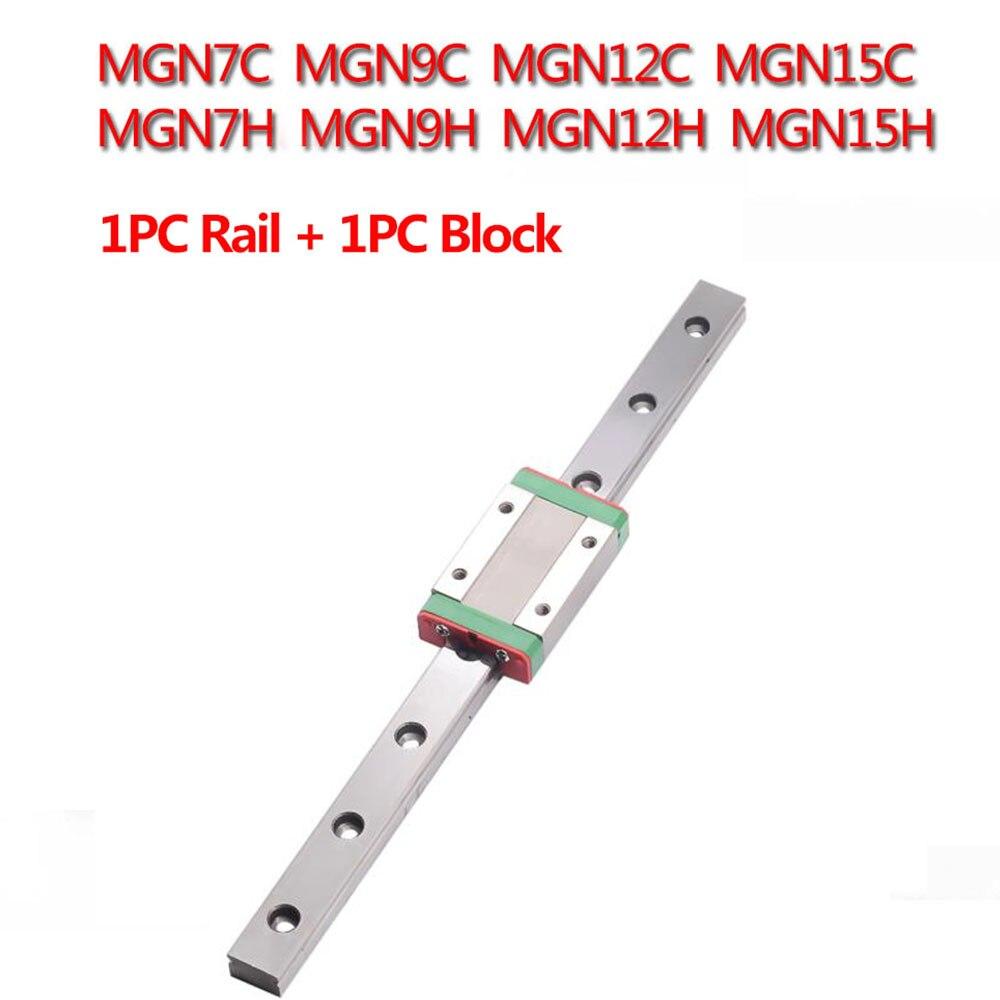1 pc mgn7c mgn7h mgn9c mgn9h mgn12c mgn12h mgn15c mgn15h guia de trilho linear 150mm 400mm com 1 pc mgn deslizante