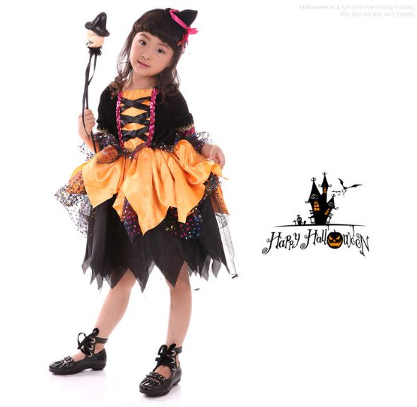 110 155cm adorable kids girl witch Cosplay Halloween dance costume little girl witch Costume Color and size can choose-in Kids Costumes u0026 Accessories from ...  sc 1 st  AliExpress.com & 110 155cm adorable kids girl witch Cosplay Halloween dance costume ...