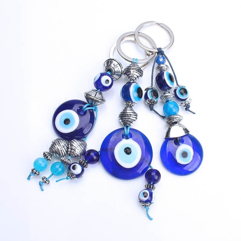 Key Chains Jewelry & Accessories Lucky Turkey Evil Eye Keychain Key Ring 8mm Beads Blue Tassel Owl Charms Pendant Fitting Car Key Chain Pendant 22cm