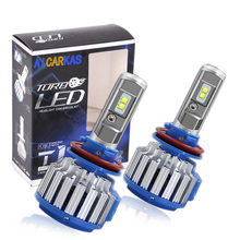 AICARKAS 2PCS T1 Turbo LED 7200LM 6000K H4 H1 H3 Car Headlight H7 LED H11 880/881/H27 9005 HB3 9006 HB4  9007 HB5 Fog Light Bulb
