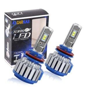 Image 1 - AICARKAS 2PCS T1 Turbo LED 7200LM 6000K H4 H1 H3 Car Headlight H7 LED H11 880/881/H27 9005 HB3 9006 HB4  9007 HB5 Fog Light Bulb