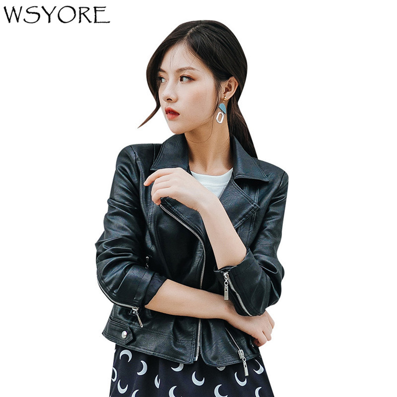 WSYORE Motorcycle Jackets and Coats 2019 New Spring and Autumn Women Slim Short Faux   Leather   PU Biker Streetwear Jacket NS437