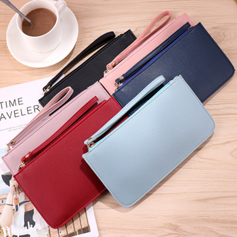 Korean Version Of The Soft Face Long Wallet Fashion Large Capacity Double Layer Mobile Phone Hand Take Purse Small Bag Gifts