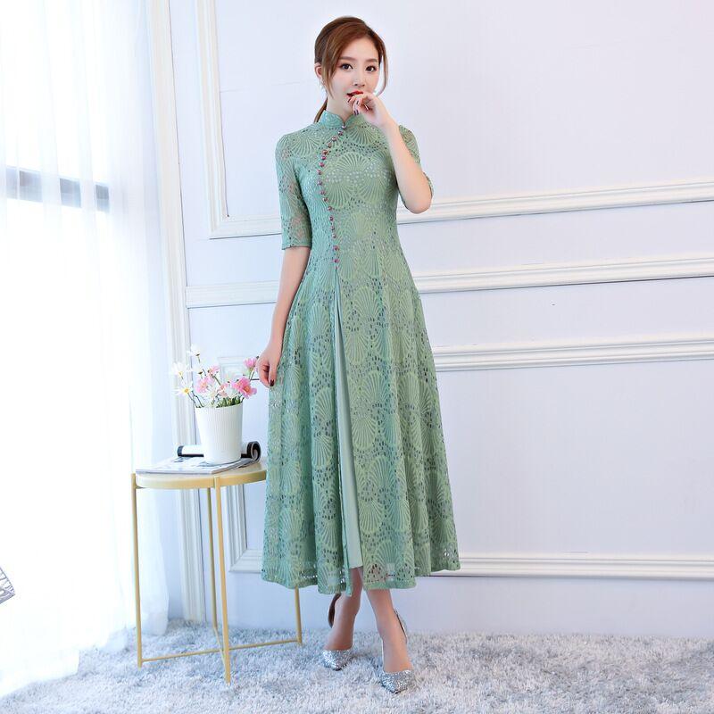 New Arrival Lace Long Cheongsam Light Green Fashion Chinese Women's Dress Elegant Qipao Vestidos Size S M L XL XXL XXXL 27568A женское платье other 2015 o vestidos s m l xl xxl