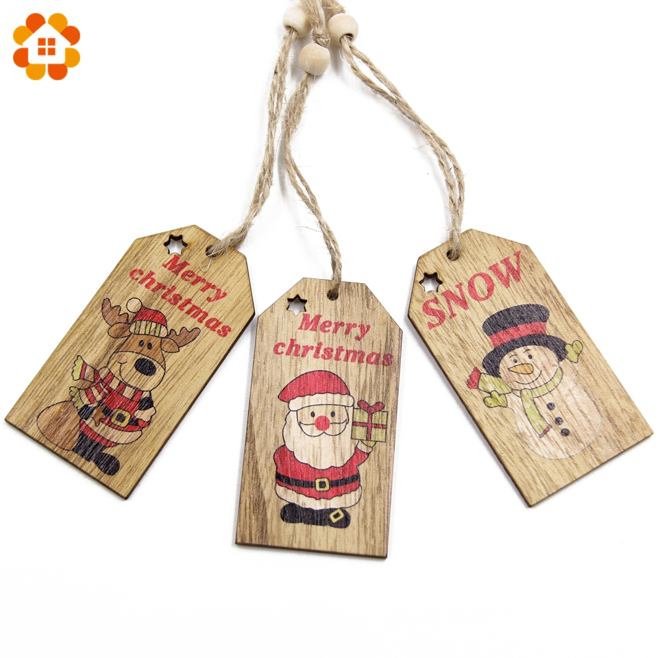 3PCS Merry Christmas Pendant Ornaments DIY Wood Crafts Kids Gift Xmas Tree For Home Decor Party Decorations