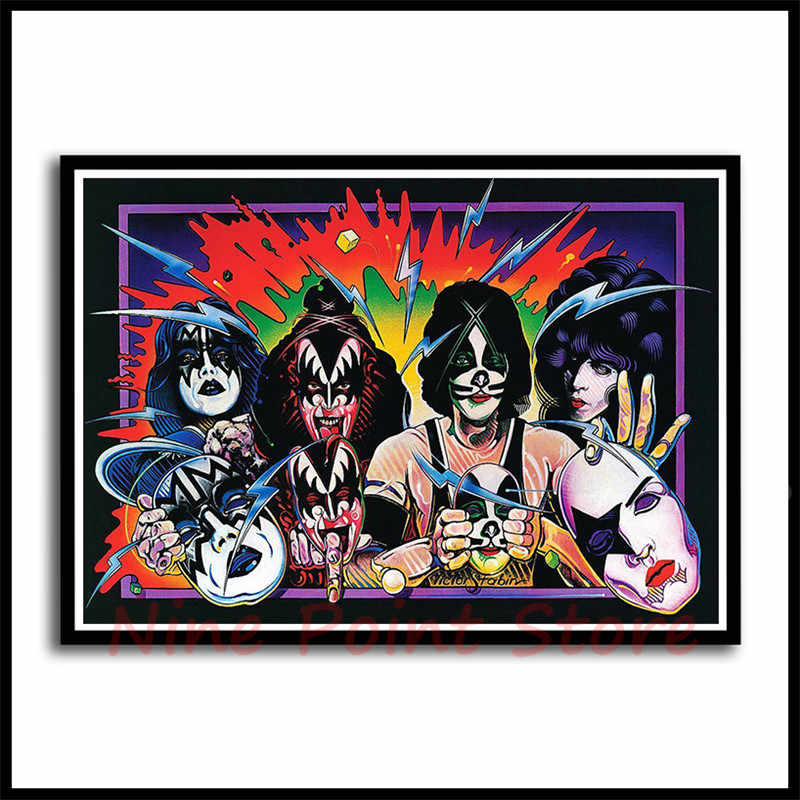Heavy metal Kiss Rock band Coated Paper Posters music team star classic  decorative painting Frameless