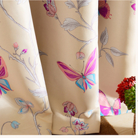 New Pastoral Style Light Yellow Printed Butterfly Curtains For Living Room Decoration Bedroom Blackout Curtains Custom