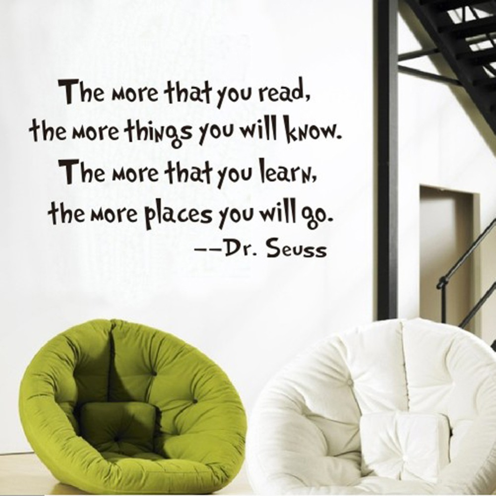 popular text wall buy cheap text wall lots from china text wall the more that you read quotes dr seuss wall sticker mural quotes saying wall stickers home