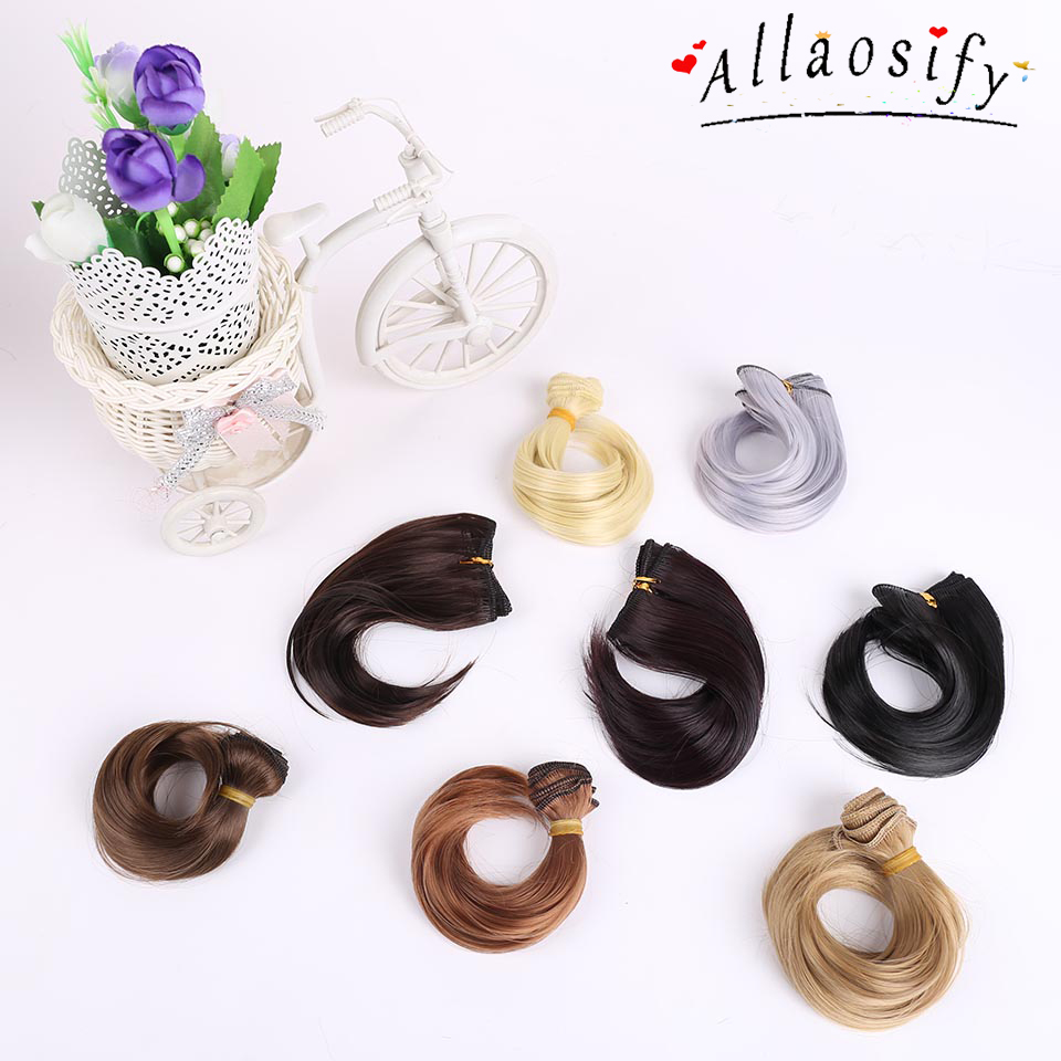 Allaosify 15*100cm Multicolor Gold brown black silver 1/3 1/4 1/6 High temperature fiber BJD wig Doll Accessories