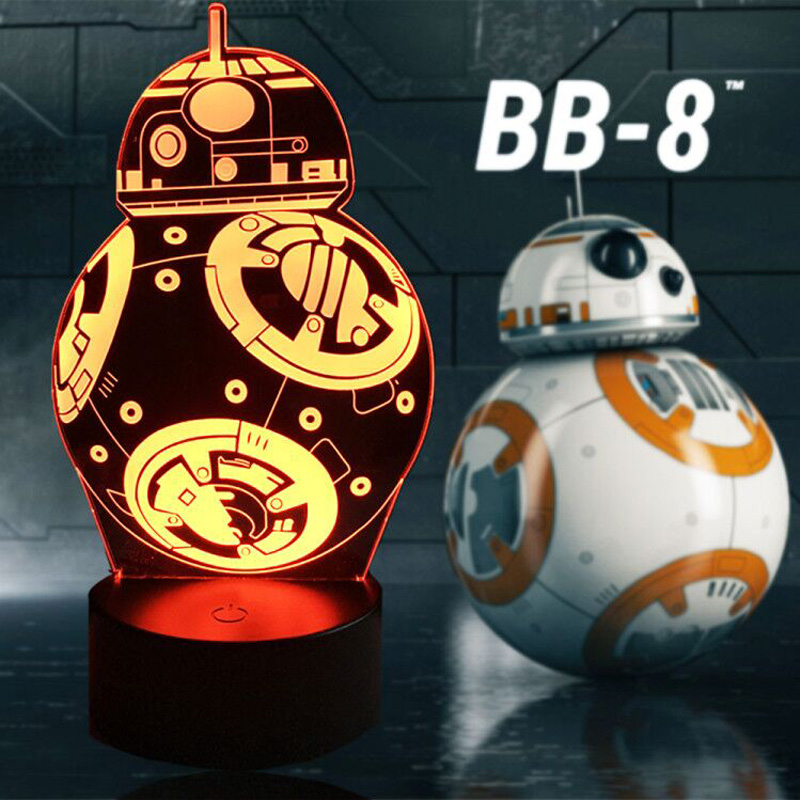 New 2017 3D Star War BB8 Robot LED Night Light 7 Color Desk Table Lava Lampara Figure RC Remote Control Kid Toy Christmas Gift no 300pc 8 bb 3