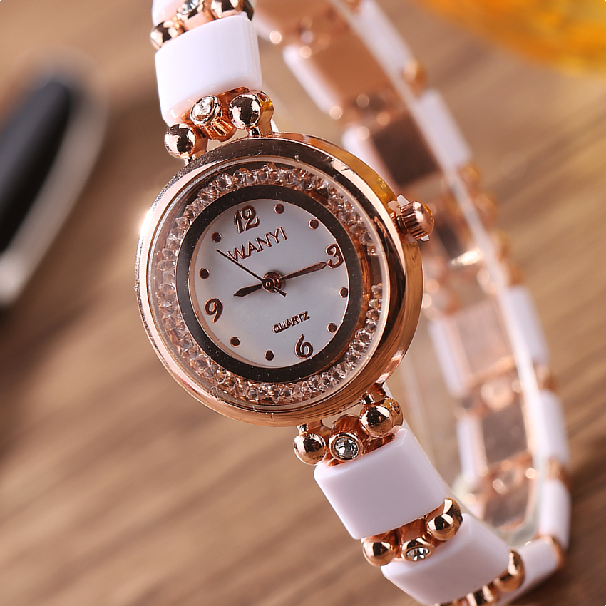 ultra slim new Brand Woman watches Fashion Ladies Crystal Clock white arcrilc Gold Luxury Women Rhinestone Diamond Watch kimio ultra slim top brand woman watches fashion ladies crystal clock black ceramics gold luxury women rhinestone diamond watch