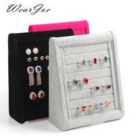 Creative Design Ladder Shaped Jewelry Display Wood Tray Set Ring Earring Velvet Display Storage Show Flat Rack Holder Organizer