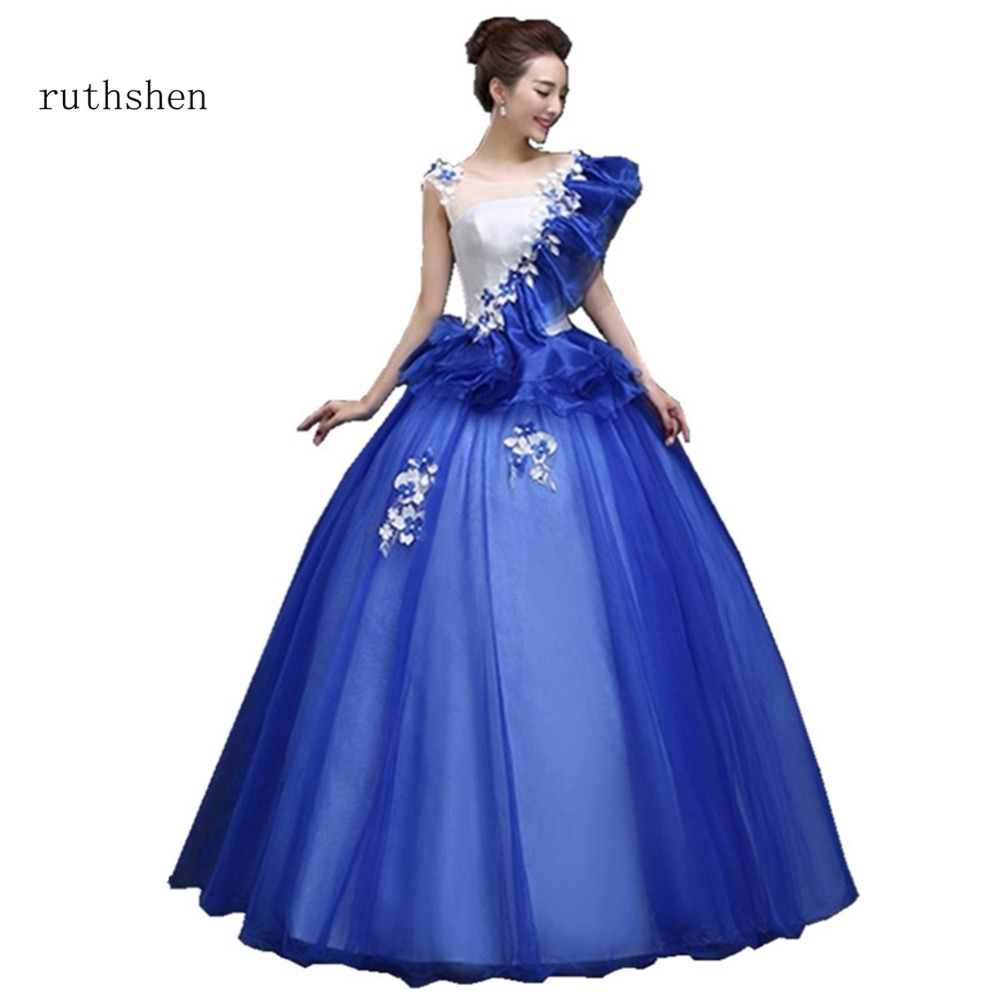 ruthshen New Arrivals 2018 Scoop Neck Appliques Flowers Decorated Quinceanera Dresses Ball Gown Short Sleeves Prom
