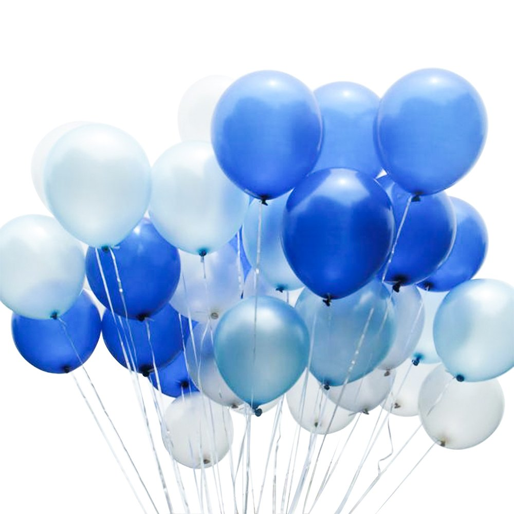 METABLE 100 pcs 12 inch Royal Blue Light White Latex Balloons for Boys Christening, Cinderella Party, 1st Birthday