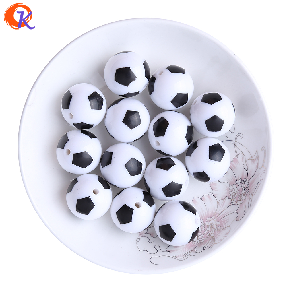 Cordial Design 20mm100pcs/lot Printing Soccer Football Sport On White Acrylic Beads For Kids Chunky Beads Jewelry CDBD-601115