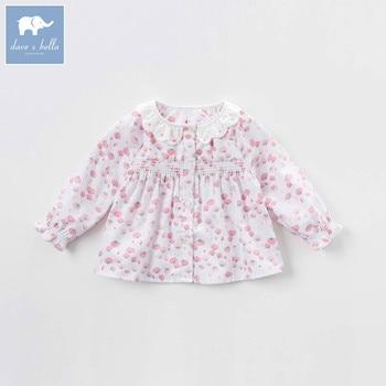 DBZ7256 dave bella spring baby girls printing shirt infant lolita blouses children cotton tops kids blouses фото
