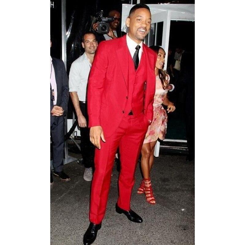 Custom Made Slim Fit Black Lapel Red Groom Tuxedos Men\'s Wedding ...