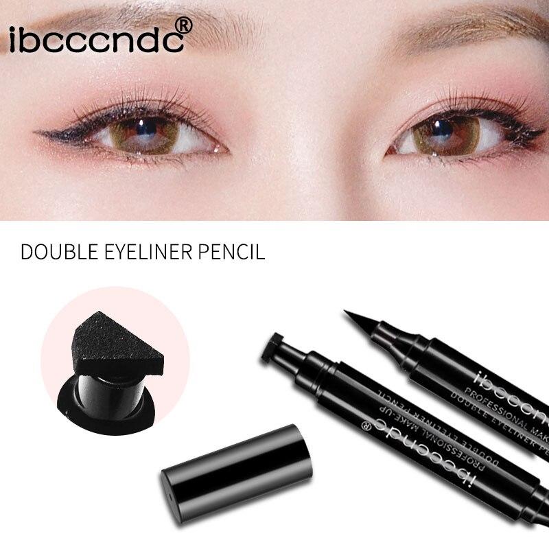 Image 4 - Hot 4 Styles Eyeliner Stamp Pencil Black Liquid Makeup Waterproof Long lasting Eye Liner Wing Stamps delineador-in Eyeliner from Beauty & Health