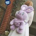 WEGO pink rabbit backpack purple fluffy big eye bunny velvet backpack cartoon long ear rabbit Plush bag