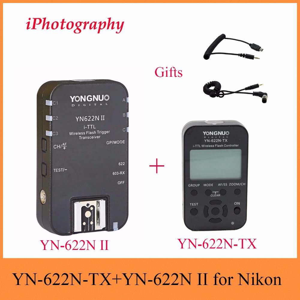 Yongnuo YN-622N-TX i-TTL LCD wireless flash trigger transceiver + YN-622N II TTL Wireless Flash Trigger Kit For Nikon DSLR 2pcs yongnuo yn622n ii yn622n tx i ttl wireless flash trigger transceiver for nikon camera for yongnuo yn565 yn568 yn685 flash