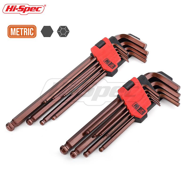 Hi-Spec 9pc S2 Allen Key Set Industrial Hex Ball End Torque Wrench Spanner Long Medium Universal Hexagonal Key Set Llave Allen