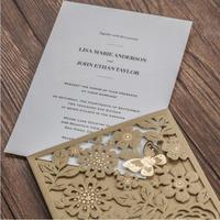 50 adet/paket Avrupa Kraliyet Tarzı ile Yeni Varış Altın Cep Düğün Davetiye Lazer Kesim Zarif Doğum Günü Parti Kartı