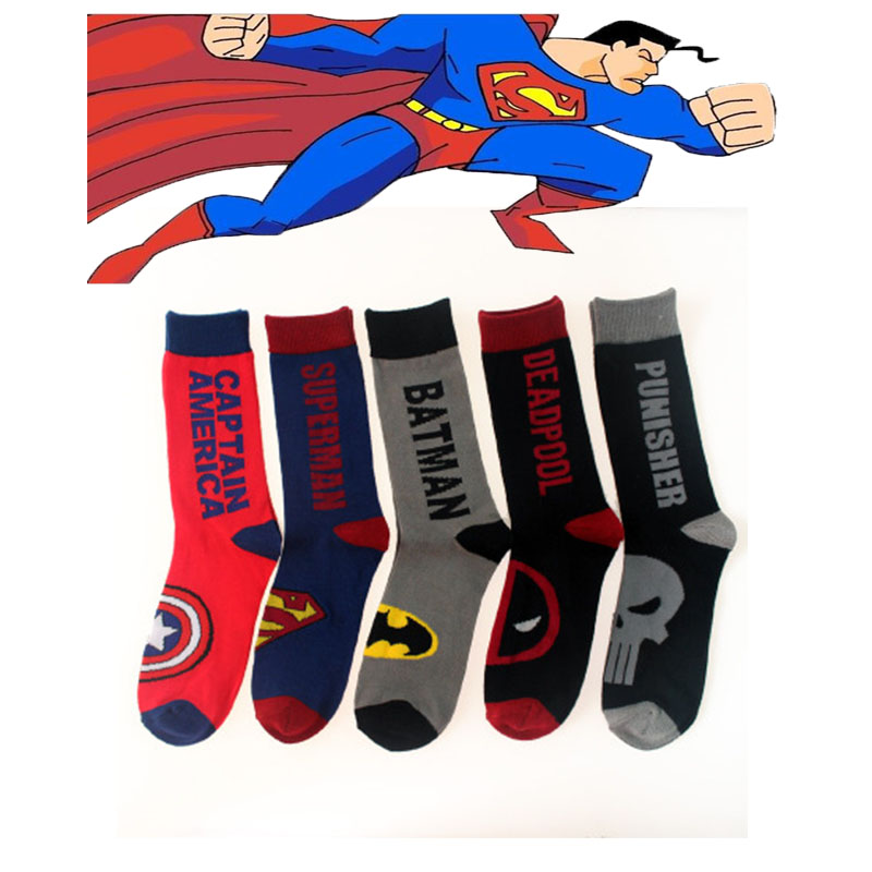 2017 Newest Men Long Cotton Socks Superman Batman Captain America Skull Classic Superhero Man Stocking Hot Sale