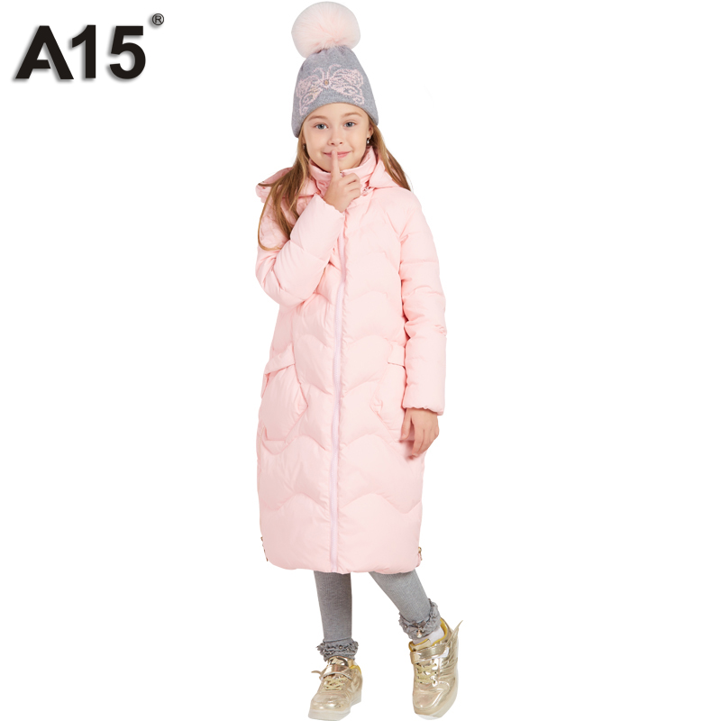 A15 Kids Winter Jacket for Girls Down Jacket Thick 2018 New Brands Princess Warm Long Coat Children Clothes Size 8 10 12 14 Year 2017 winter women jacket new fashion thick warm medium long down cotton coat long sleeve slim big yards female parkas ladies269