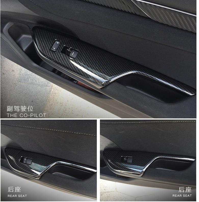 Carbon Fiber Car Door Window Switch Button Frame Trim Cover 2pcs