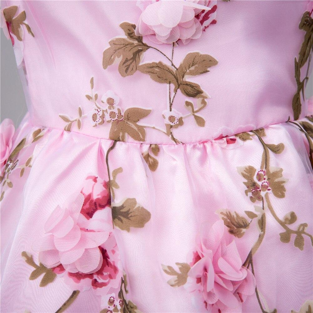 Lovely Pink Flower Girl Dress 2017 O Neck 3d Flowers A Line Organza