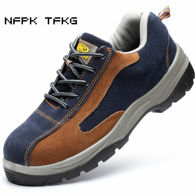 fashion steel toe covers working safety shoes womens soft suede leather tooling ankle boots non-slip site protect zapatos mujer