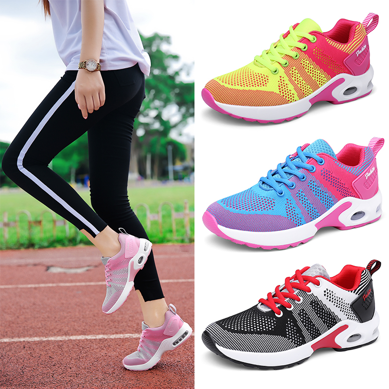 Breathable Mesh Running Shoes Women Trainers Korean Sneakers Fly Weave Jogging Fitness Sport Shoes Ladies Air Cushion Sneakers(China)