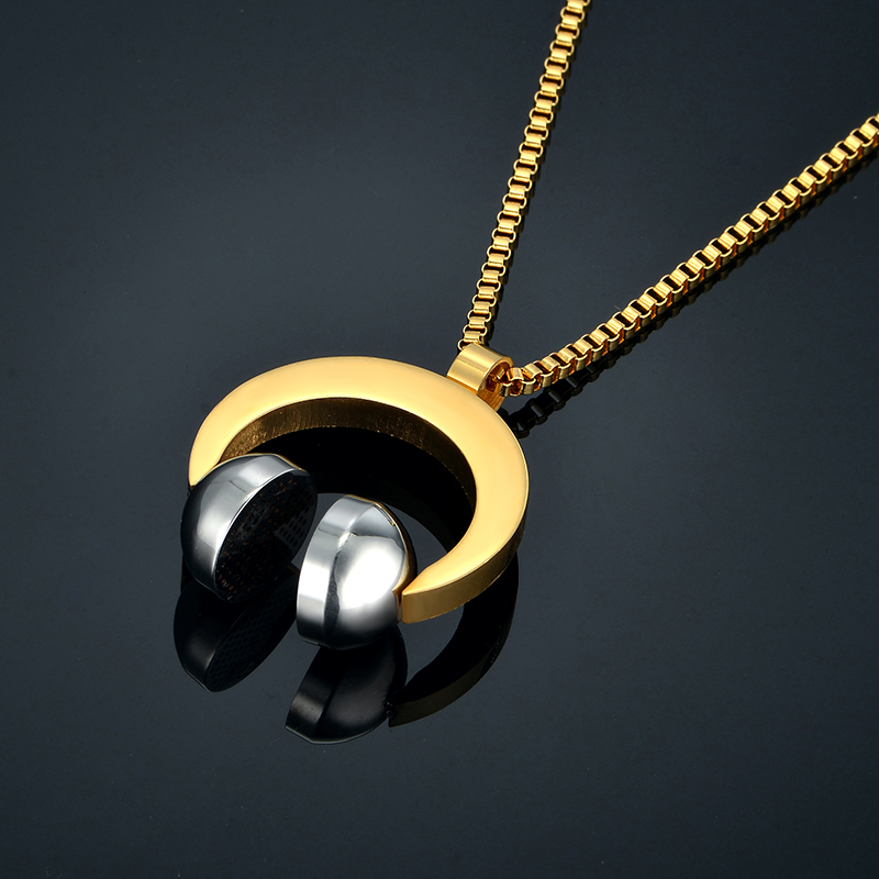 Hip Hop Jewelry Stainless Steel Music Headphone Pendant (8)