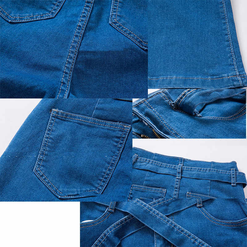 Blauw Tie Taille Flare Jeans Vrouwen Slim Denim Broek Vintage Kleding 2019 lente Hoge Taille Broek Belted Stretchy wide been jeans