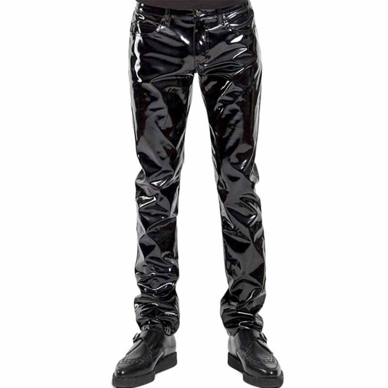 Punk Style Gothic Man Pants Sexy Wetlook Latex Vinyl Zipper Trousers Men Fashion Faux Leather Pole Dance Gay Fetish Pantalones Hombre (3)