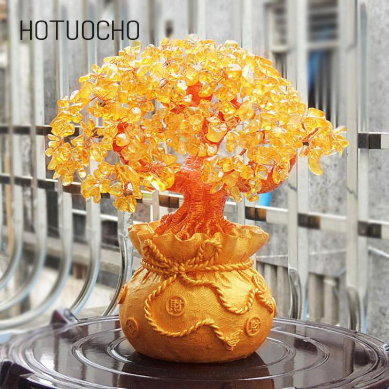 Hotuocho Home Ornaments Money Tree Creating Furniture Lucky Tree Decorating Office Desk Tv Wine Cabinet Craft  Table Decor Gift