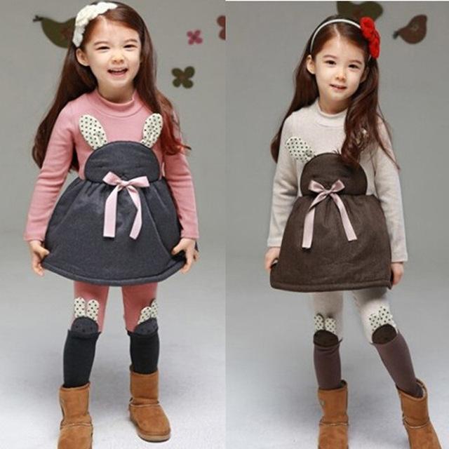 2016 roupa nova criança inverno ternos de algodão + cashmere coelho dos desenhos animados vestido de manga longa + calças grossas 2 conjuntos 2-6A meninas definido