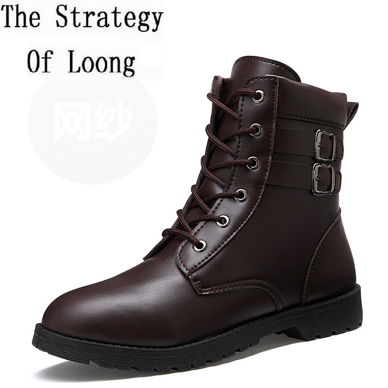 2017 New Arrival Winter Men Martin Leather Ankle Snow Boots Fashion Thick Warm High Top Spring Autumn Mens Buckle Shoes 141204 2016 new arrival men winter martin ankle boots pu leather high quality fashion high top shoes snow timbe bota hot sale flat heel
