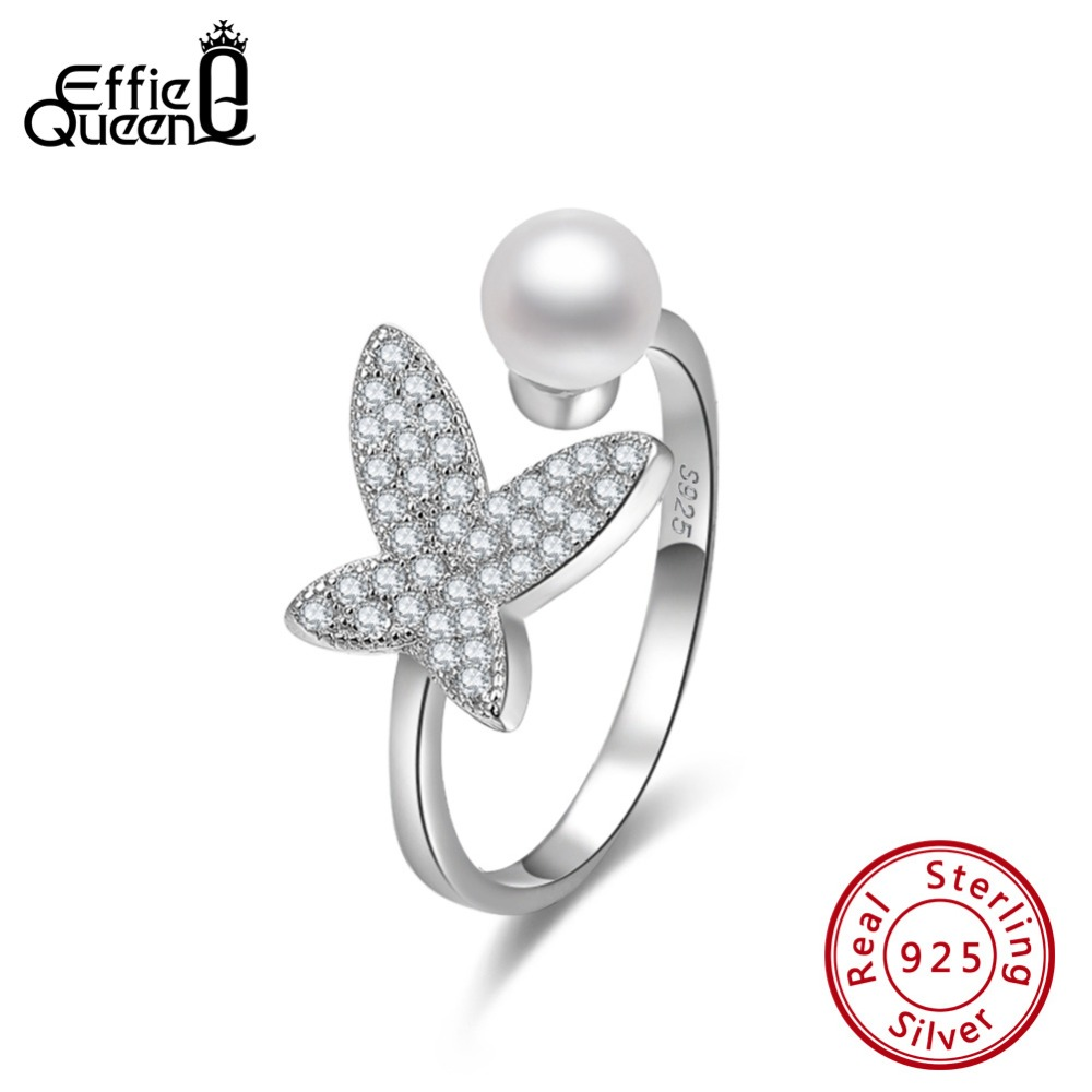 Effie Queen 925 Sterling Silver Women Rings Butterfly Shape With Top Simulated Pearl AAA CZ Adjustable 925 Ring Jewelry BR122