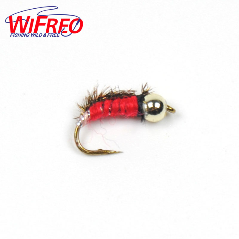Wifreo 10pcs #14 Red Nymph Beadhead Fly Trout Fly Fishing Lures wifreo 84pcs assorted nymph flies combo set trout fishing fly with ultra thin fly fishing pocket box size 14