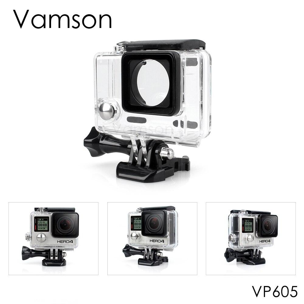 Vamson for Go Pro Accessories Waterproof Case 60m Underwater Diving Shell Cover Housing Skeleton Frame for Gopro Hero 4 3+ VP605