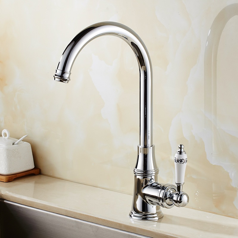 Discount Bathroom Faucets >> Kitchen Faucets Brass Polished Silver Bathroom Faucet Single Handle Sink Taps Hot Cold Water ...