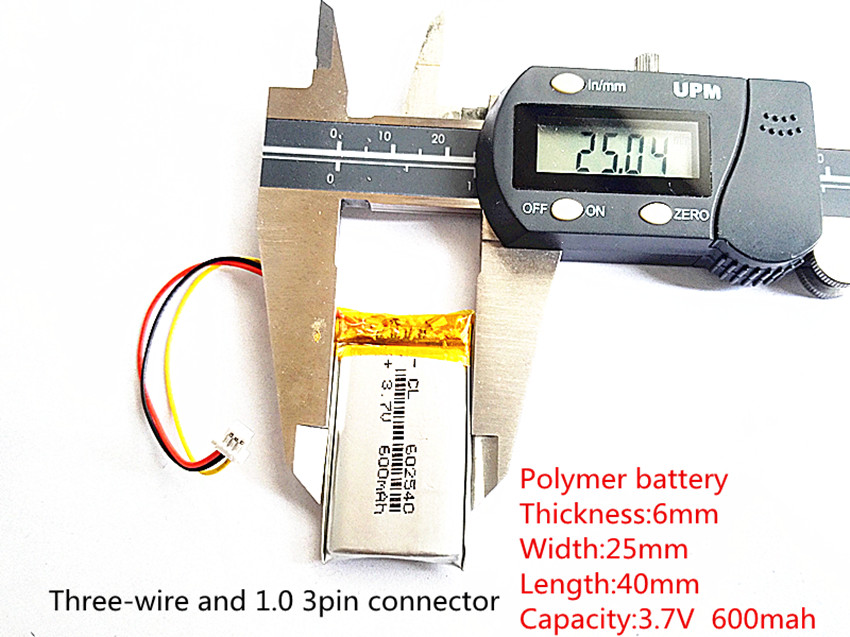 li-po <font><b>602540</b></font> 3.7V 600mAh Rechargeable li-Polymer Li-ion <font><b>Battery</b></font> For 358 388 portable set-top box DVR MP3 toys image