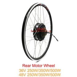 Darmowa wysyłka 36V 48V 250W 350W 500W tylne koła silnika dla ebike zestaw bezszczotkowy piasta koła silnika zestaw konwersji rower elektryczny